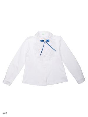 Блузка LIK. Цвет: синий, белый