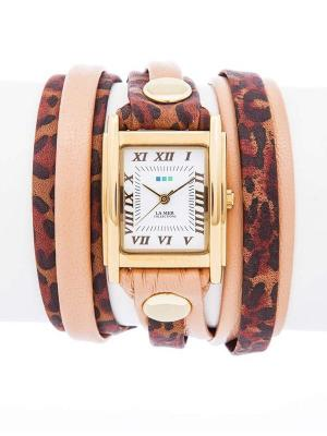 Часы La Mer Collections Layer Indian Leopard - Coppertone Mix Up. Цвет: черный, персиковый, темно-бордовый