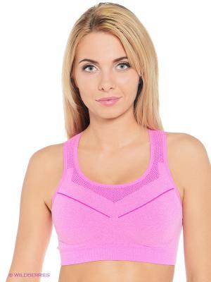 Спортивный топ Pro-Fit. Цвет: розовый, белый