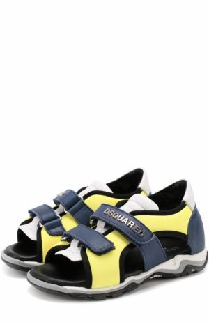 Комбинированные сандалии с застежками велькро Dsquared2. Цвет: желтый