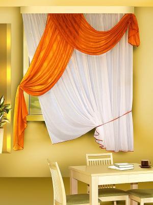 Комплект штор ZLATA KORUNKA. Цвет: оранжевый, белый