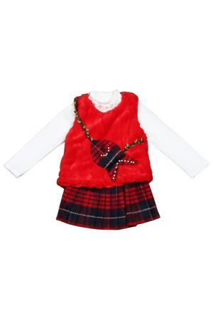Комплект: джемпер, сарафан Kidly. Цвет: красный, белый, синий