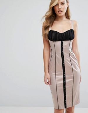 Elise Ryan Атласное платье-футляр с корсетной отделкой и крючками. Цвет: мульти