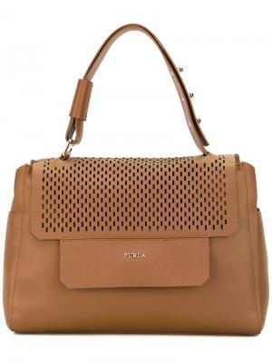 Перфорированная сумка-тоут Furla. Цвет: коричневый