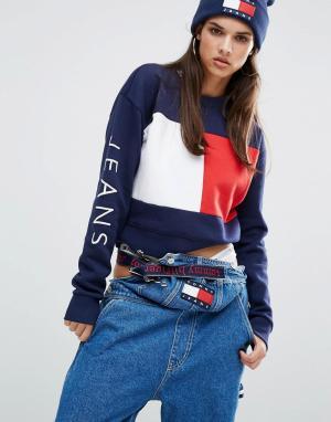 Tommy Jeans Укороченный свитшот с флагом. Цвет: темно-синий