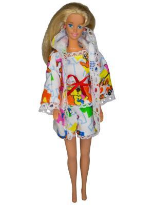 Одежда для сна куклы 29 см: халат, кофточка и шортики Модница.. Цвет: светло-оранжевый, белый, красный