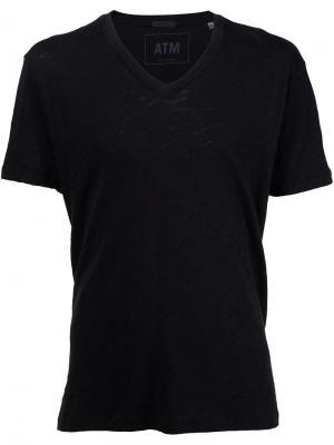 Мешковатая футболка с V-образным вырезом Atm Anthony Thomas Melillo. Цвет: чёрный