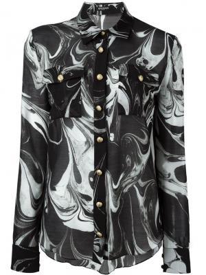 Рубашка с мраморным принтом Balmain. Цвет: чёрный
