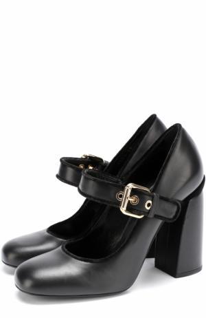Кожаные туфли с ремешком на массивном каблуке Baldan. Цвет: черный
