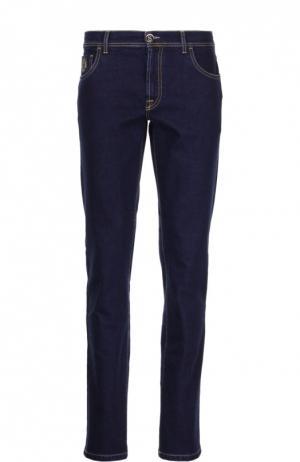 Зауженные джинсы с контрастной прострочкой Scissor Scriptor. Цвет: индиго
