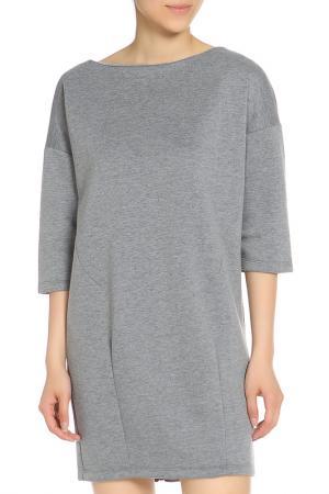 Свободное платье с воротником Лодочка Drywash. Цвет: серый