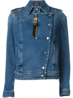 Джинсовая куртка в байкерском стиле Anthony Vaccarello. Цвет: синий