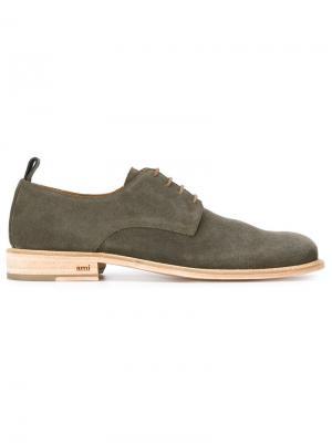 Классические туфли-дерби Ami Alexandre Mattiussi. Цвет: зелёный