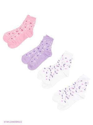 Носки, 4 пары Гамма. Цвет: сиреневый, розовый, белый