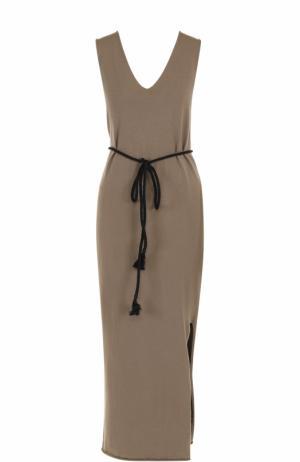 Платье-макси с разрезом и поясом Isabel Benenato. Цвет: бежевый