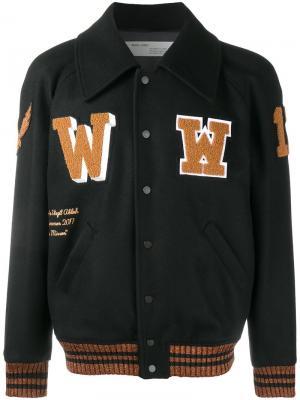 Университетская куртка с нашивками Off-White. Цвет: чёрный