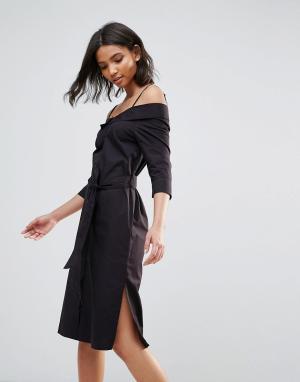 Neon Rose Черное хлопковое платье миди со спущенными плечами. Цвет: черный