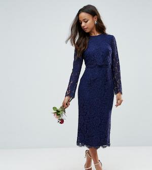 ASOS Petite Платье-футляр миди с длинными рукавами WEDDING. Цвет: темно-синий