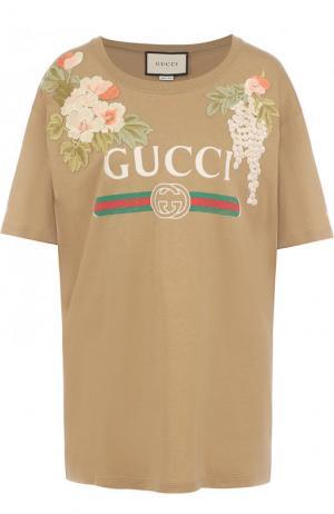 Хлопковая футболка свободного кроя с логотипом бренда Gucci. Цвет: бежевый