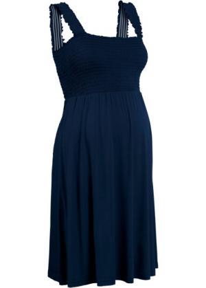 Мода для беременных: трикотажное платье (темно-синий) bonprix. Цвет: темно-синий