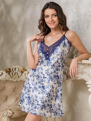Ночная сорочка MIA-MELLA. Цвет: синий, белый