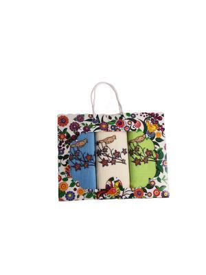 Набор вафельных полотенец из 3-х шт.Птичка на ветке Dream time. Цвет: светло-зеленый,голубой,кремовый