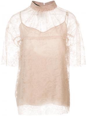 Двухслойная блузка Rochas. Цвет: телесный