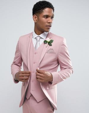 ASOS Пыльно-розовый пиджак скинни. Цвет: розовый