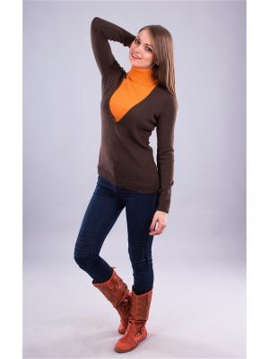 Пуловер Мирося. Цвет: коричневый, оранжевый