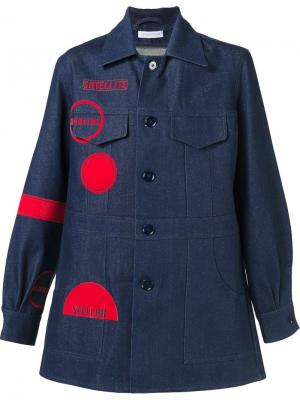 Джинсовое пальто с графическим принтом J.W.Anderson. Цвет: синий