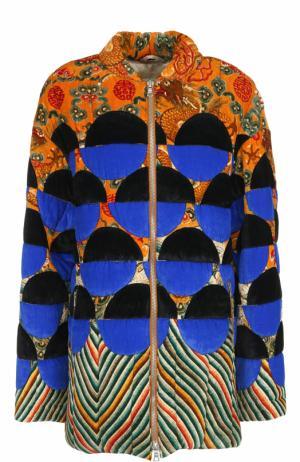 Удлиненная бархатная куртка на молнии Dries Van Noten. Цвет: разноцветный