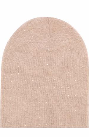 Кашемировая шапка с отделкой из страз Swarovski William Sharp. Цвет: бежевый