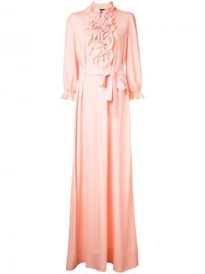 Длинное платье с отделкой оборками Boutique Moschino. Цвет: розовый и фиолетовый