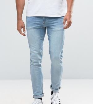 ASOS Светлые джинсы скинни TALL. Цвет: синий