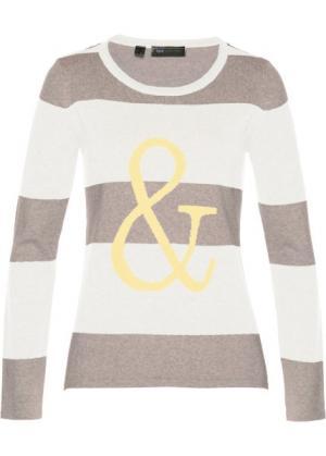 Пуловер (меланж натурального камня/кремовый/лимонный) bonprix. Цвет: меланж натурального камня/кремовый/лимонный