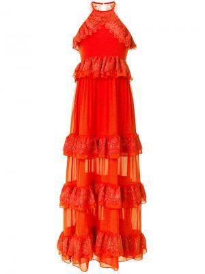 Вечернее платье Grandeur Three Floor. Цвет: жёлтый и оранжевый