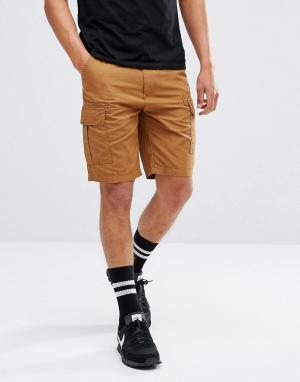 Brooklyns Own Светло-коричневые шорты карго. Цвет: светло-серый