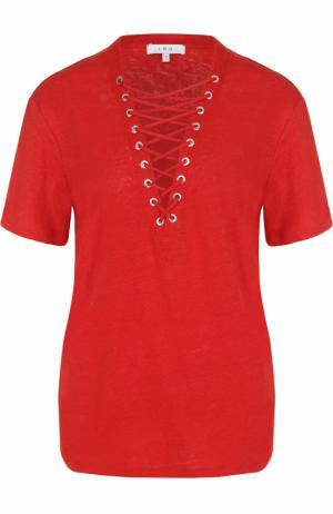 Удлиненная льняная футболка со шнуровкой Iro. Цвет: красный