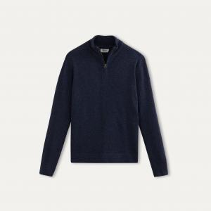 Пуловер с воротником на молнии HARTFORD. Цвет: индиго