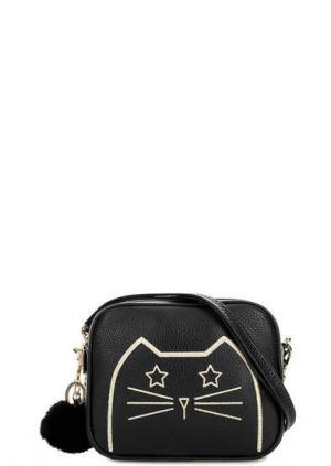 Маленькая сумка из натуральной кожи с вышивкой Curanni. Цвет: черный