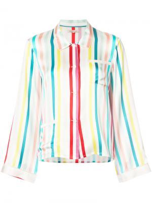 Пижамная рубашка в полоску Morgan Lane. Цвет: белый