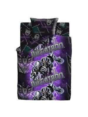 Комплект постельного белья 1,5 поплин Мегатрон Neon Transformers. Цвет: серый, темно-фиолетовый