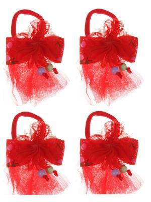 Бантики для волос на длинных резинках бантик с вишенками, набор 2 по шт, красные Радужки. Цвет: красный