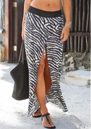 Пляжная юбка Lascana. Цвет: кремовый/черный