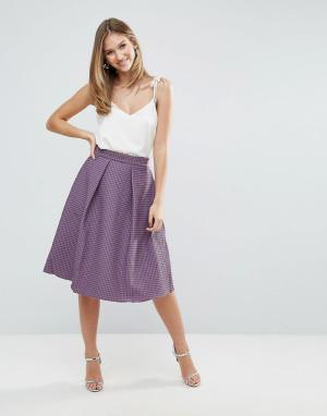 Closet London Пышная юбка миди из плиссированного жаккарда. Цвет: фиолетовый