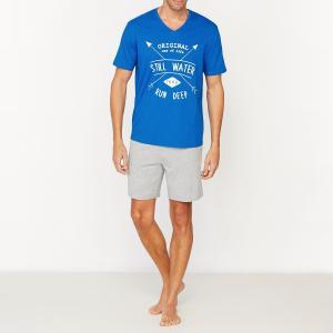 Пижама с шортами V-образным вырезом из джерси 100% хлопок La Redoute Collections. Цвет: синий + серый меланж
