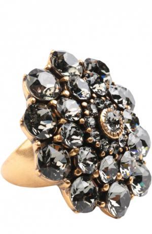 Кольцо с кристаллами Oscar de la Renta. Цвет: серый
