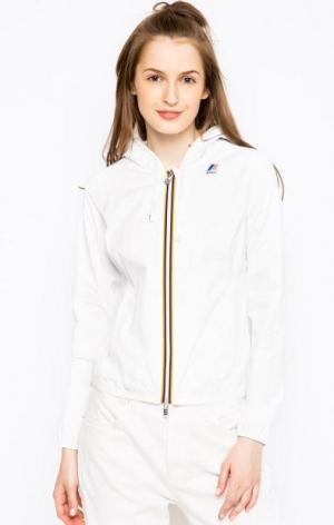 Белая ветровка с капюшоном K-WAY. Цвет: белый
