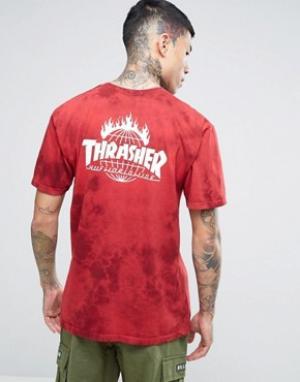 HUF Футболка с принтом тай-дай x Thrasher. Цвет: красный