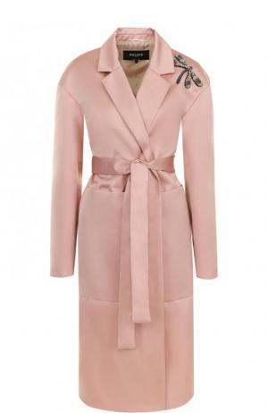 Однотонное пальто с поясом и декоративной отделкой Rochas. Цвет: бежевый